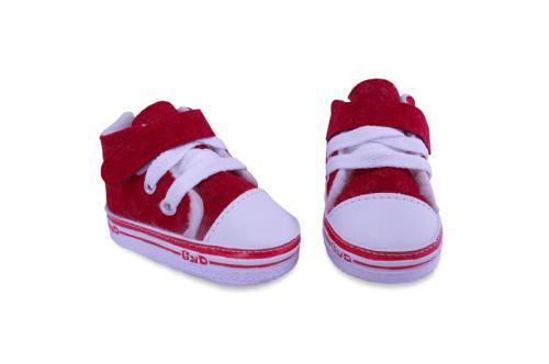 Bota de Bebé, Gamuza con Abrojo y Cordón Roja