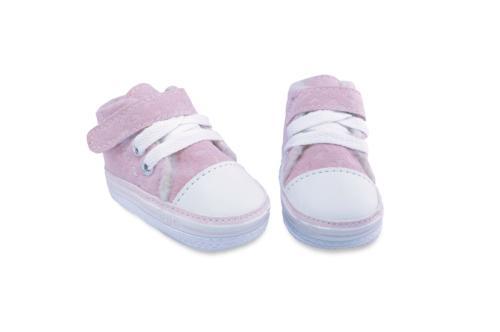 Bota de Bebé, Gamuza con Abrojo y Cordón Rosa