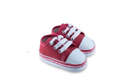 Zapatilla de Bebé de Corderoy con Cordón Rojo