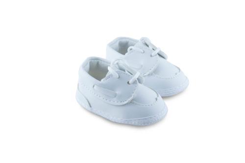 Mocasín de Bebé Varón con Cordones Blanco