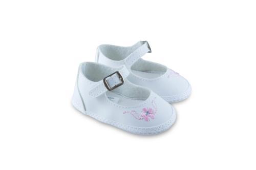 Badana de Bebé Nena Blanco con Bordado de flores en Rosa