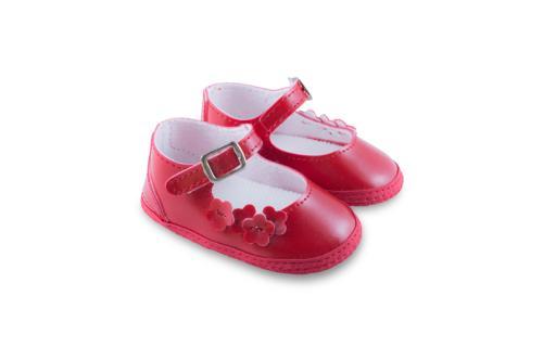 Badana de Bebé Nena de Charol con Flores Roja