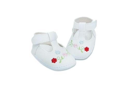 Badana de Bebé Nena Blanco con Bordado de flores en Rojo