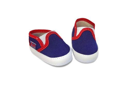 Pancha de Bebé Lona Azul con Detalles en Rojo
