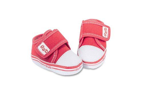 Zapatilla de Bebé Lona lisa Rojo