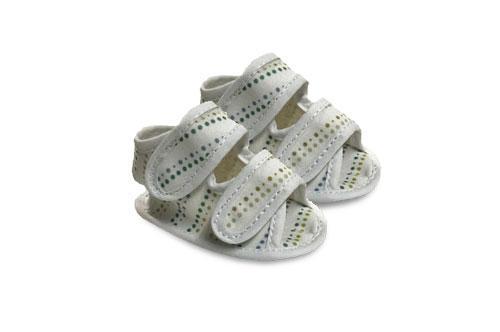 Sandalia de Bebé de Lona Motivo Lunares Dorados
