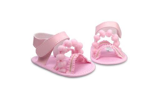 Sandalia de Bebé de Vinílico Elástico Nena Rosa con detalle de Pompón