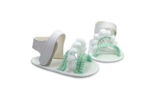 Sandalia de Bebé de Vinílico Elástico Verde con detalle de Pompón